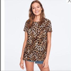 PINK VIC SEC perfect crew leopard print tee NWOT S